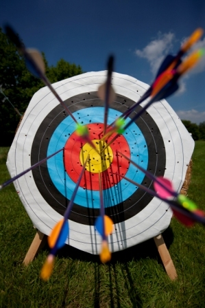 An archery target with arrows.